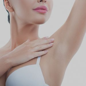 woman with shaven armpit